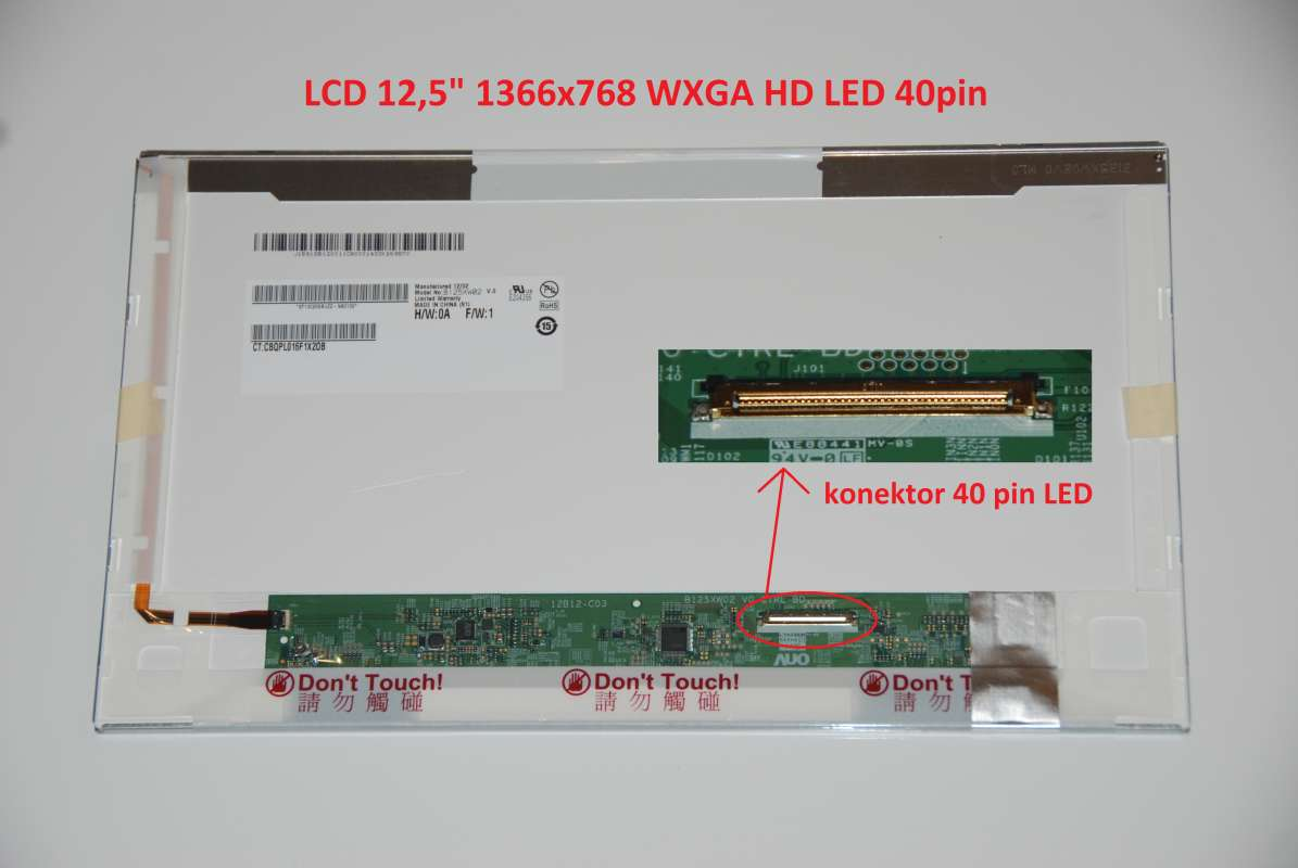 "LTN125AT02 LCD 12.5"" 1366x768 WXGA HD LED 40pin display displej"